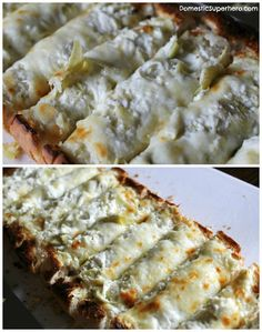 Cheesy Baked Artichoke Bread - This is the most delicious and crowd pleasing appetizer you will ever make!