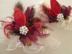 Ivory Wedding Garters Luxury Couture Feather by NakedOrchidGarters, $97.99 #redweddings
