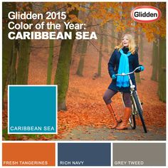 Bright colors during fall are a definite DO. Try Caribbean Sea, our 2015 Color of the Year. Coordinating colors: Fresh Tangerines, Rich Navy & Grey Tweed.