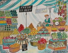 """""""Fresh is Best"""" by Emily Sutton (watercolour) Drawing For Kids, Art For Kids, Diy Journal Books, Picture Comprehension, Food Illustrations, Illustration Art, Museum Of Childhood, Embroidered Bird, Ecole Art"""