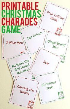 Christmas charades printable game