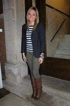 Equestrian look with darker olive jeans // Bows and Sequins blog