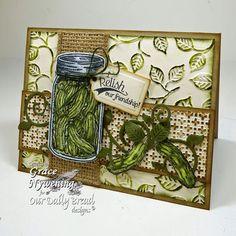 Stamps - Our Daily Bread Designs Blue Ribbon Winner, Garden Mini, Pickles, Strawberries and Pickles, ODBD Custom Fancy Foliage Die,ODBD Custom Recipe Card and Tags Die,ODBD Custom Canning Jars Die