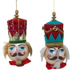 "Katherine's Collection Imperial Guardsman Christmas Set Twelve Assort Approx 8"" Nutcracker Head Glass Ornaments Free Ship"