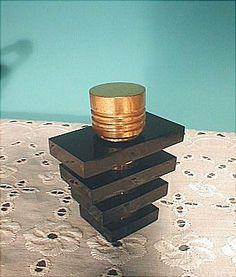 Black Lucite, Brass Art Deco Perfume