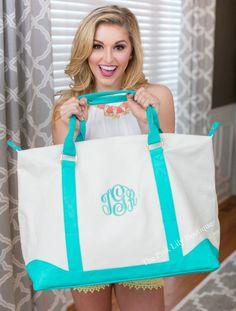 Monogrammed Mint Sullivan Weekender Bag - The Pink Lily Boutique