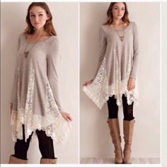 ️oversized Slouchy Sand ️LACE Trim Tunic Best selling sand tunic with LACE trim details . layer over a slip dress ti create a dress or wear as a tunic . NWT 5 star rated tunic that you will love . has some stretch and loose towards the bottom. please comment for personal listing. Vivacouture Dresses