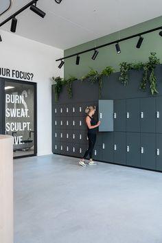 Fitness Design, Gym Design, House Design, Factory Architecture, Interior Architecture, Commercial Design, Commercial Interiors, Sports Locker, Locker Designs