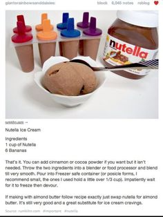 Nutella + frozen bananas = ice cream