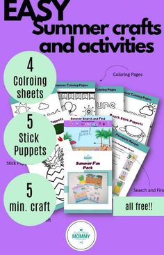 Looking for arts and crafts this summer for your toddler to make? Here is a pack full of different ways to entertain your kid inside. Includes summer coloring pages, a pineapple craft, some adorable stick puppets, and a cute pool search and find. You can get all of this as a free printable. You won't want to miss these awesome crafts for kids this summer. #indoorsummeractivities #summercraftsfortoddlers List Of Activities, Rainy Day Activities, Summer Activities, Popsicle Stick Crafts For Kids, Craft Stick Crafts, Easy Crafts, Summer Crafts For Toddlers, Crafts For Kids To Make, How To Make