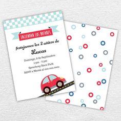 Invitación Imprimible Cumpleaños Autos de Carrera Niños. By Invitation Only Shop http://byinvitationonlyblog.com