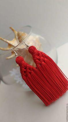 """Купить Серьги кисти """"Red"""" - ярко-красный, серьги, сережки, серьги оригинальные, серьги из бахромы"""