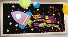 "Bulletin Board Idea. Could also do one that says ""Exploring the Stars of Kindergarten"" and have each student's name on a star"