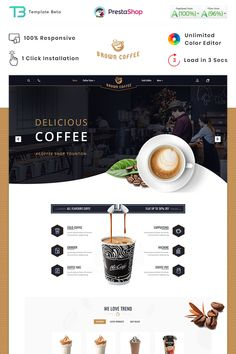 Brown Coffee - The Coffee PrestaShop Theme Best Picture For Web Design wireframe Best Website Design, Custom Website Design, Website Design Layout, Website Design Inspiration, Web Layout, Layout Design, Poster Cars, Poster Sport, Poster Retro