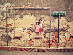 Penang Street Art (Children on the Swing)