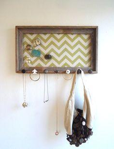 Jewelry Organizer-Holder Barnwood Frame Chevron Distressed Bedroom Decor- 7 Vintage knobs. $72.50, via Etsy.