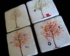 Tile art/coasters/love,love, love.