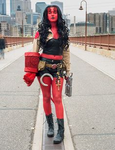 hellboy female cosplay! These are all so amazing it's hard to choose a favorite!! Spawn was great, captain america, gambit, two face! Ugh they're all gorgeous!