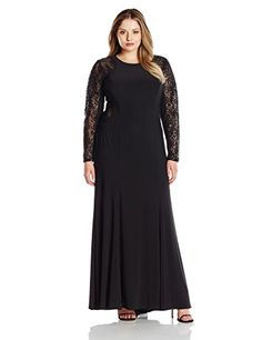 Xscape Women's Plus-Size ITY with Sequin Lace Long Sleeves