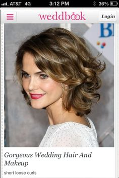 Wedding short hair, I would do more of a natural color lip for bridal, I can see this looking amazing on you Amber