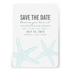 Beautifully printed starfish save the dates designed by Shelby Allison that can be customized for your special occasion. Check out the Origami Prints store for wedding invitations, rsvp cards and other products that compliment this design! #wedding #save #the #date #cute #beach #card #ocean #themed #starfish #blue #turquoise #modern #contemporary #stylish #trendy #popular #best #selling #beachy #summer #nautical #aqua #teal #tiffany #bold #bright #fun #black #gray #grey #save #the #dates ...