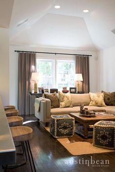 Austin Bean Design Studio - living rooms - Wisteria Smart and Sleek Stool, vaulted ceiling, recessed lights, pot lights,