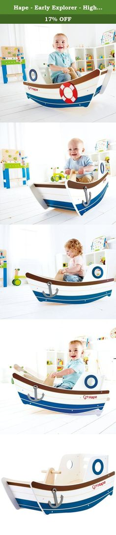 Hape - Early Explorer - High Seas Wooden Boat Rocker. Cast off from shore to teeter and totter on the ocean waves! Drift across the deep blue and rock worries away aboard this tugboat. New from Hape Toys, this nautically inspired teeter-totter is perfect for the little explorer in your life. With a bench style seat and supportive back piece for added comfort (and safety!) this is the perfect indoor play structure for your little one. Durable child safe paint finish and solid wood...
