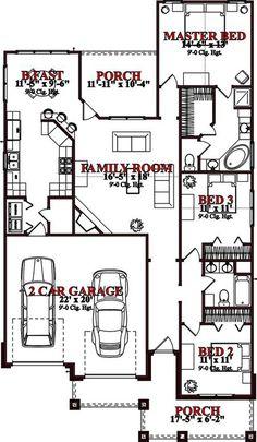 Narrow Lot Plan: 1,539 Square Feet, 3 Bedrooms, 2 Bathrooms - 1070-00125