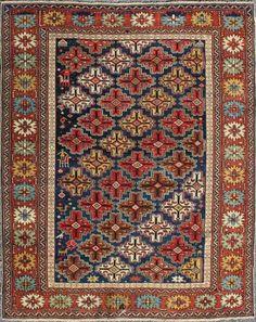 "KEIVAN WOVEN ARTS, Type : Shirvan Origin : Caucasus Size : 3'8""x4'10"" Circa : 1890"