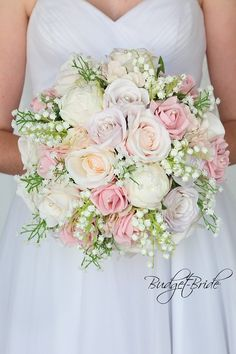 Romantic Spring Wedding bouquet in blush pink tones with lily of the valley - Maggieh Spring Wedding Bouquets, Peony Bouquet Wedding, Bridal Bouquet Pink, Pink Wedding Flower Arrangements, Spring Bouquet, Lily Of The Valley Wedding Bouquet, Flower Girl Bouquet, Flower Bouquets, Pink Peony Bouquet
