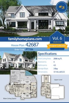 Traditional Style House Plan 42687 with 4 Bed, 5 Bath, 3 Car Garage - fiona Family House Plans, Best House Plans, Dream House Plans, House Plans With Pool, Custom House Plans, Farmhouse Design, Country Farmhouse, Modern Farmhouse, Country Kitchen
