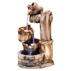 Tiering Barrel Fountain With LED Lights