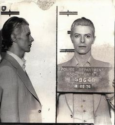 Music legend David Bowie was arrested in upstate New York in March 1976 on a felony pot possession charge. The Thin White Duke, 29 at the time, was nabbed along with Iggy Pop and two other codefendants at a Rochester hotel following a concert. Bowie was held in the Monroe County jail for a few hours before being released. The above Rochester Police Department mug shot was taken three days after Bowie's arrest, when the performer appeared at City Court for arraignment.