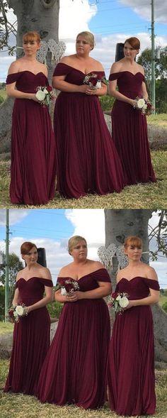 simple off the shoulder bridesmaid dresses, burgundy floor length bridesmaid dresses, chiffon wedding party dresses with pleats