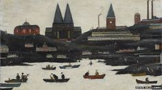 """"""" Laurence Stephen Lowry The Lake oil on canvas x 61 cm """" Liverpool Waterfront, English Artists, Art Uk, Landscape Paintings, Oil On Canvas, Graphic Art, My Arts, Drawings, Illustration"""