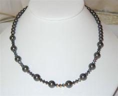 Swarovski Crystal Black Pearl and Gold Crystal Aurum 1x Bead Necklace - $25