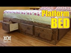 This platform bed is loaded with storage! Easy to make, Free how-to video and free plans.
