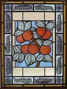 "Hand Painted Window, Hand painted ""Peaches & Ferns"" window. Sunflower Glass Studio"