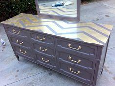 London Grey and Gold Chevron Mid-Century Dresser
