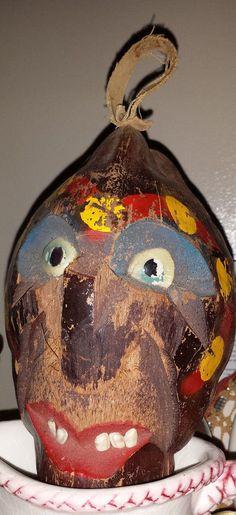 antique/vintage folk art carved coconut head primative ethnic Pacific Islands