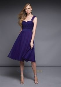 Shimmery Chiffon Eggplant One Shoulder With Flowers Bridesmaid Dress Party Gown $98.00