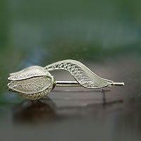 Silver Tulip from They help succeed worldwide. Filigree Jewelry, Filigree Earrings, Sterling Silver Filigree, Silver Brooch, Bead Jewellery, Unique Jewelry, Vintage Jewelry, Wire Jewelry Designs, Handmade Silver
