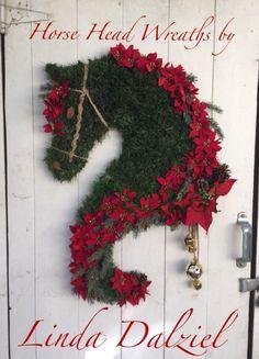 Poinsettias and Bells Facebook: Horse Head Wreaths by Linda Dalziel, original creator of hand woven faux garland wreaths.