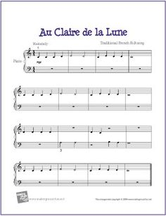 Au Clair de la Lune | Free Sheet Music for Easy Piano - http://makingmusicfun.net/htm/f_printit_free_printable_sheet_music/au-clair-de-la-lune-piano-solo.htm