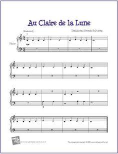 Au Clair de la Lune | Free Sheet Music for Easy Piano - http://makingmusicfun.net/htm/f_printit_free_printable_sheet_music/au-clair-de-la-lune-piano-solo.htm