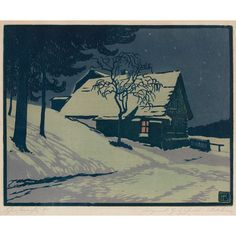 arts and crafts woodblock print snow on farmhouse