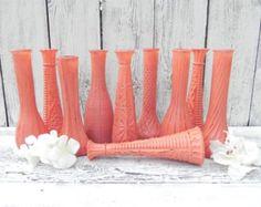 Ensemble corail SHABBY CHIC peintes Vase, Vases de décoration de mariage