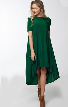 There's something about a green dress like this that makes it a real standout. Lunch in Paris High Low Swing Dress (Green) – ShopLuckyDuck Cute Dresses, Casual Dresses, Fashion Dresses, Short Sleeve Dresses, Short Long Dresses, Swing Dress, Dress Skirt, Dress Up, Skirt Outfits