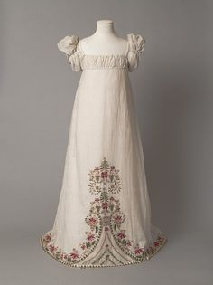 1812-1815 young girl's gown - the sleeves are stylistically youthful, but the embroidery is very mature in its style.