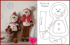 ginger bread man and girl Gingerbread Ornaments, Christmas Gingerbread, Xmas Ornaments, Felt Christmas, Homemade Christmas, Felt Crafts, Christmas Crafts, Christmas Decorations, Felt Patterns